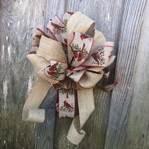 Christmas bow holiday tree topper wreath gift bird